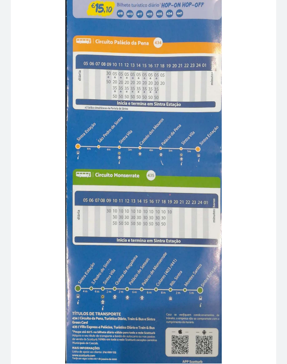 Sintra Bus Timetable.